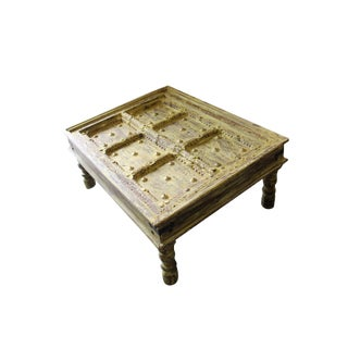 Coffee Table Yellow Patina Indian Antique Doors Hand Carved Solid Wood Chai Table For Sale