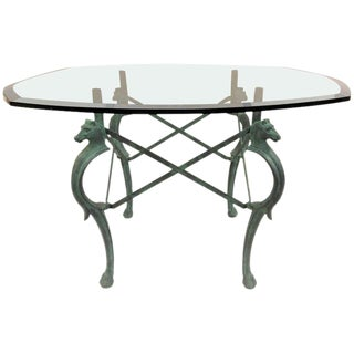French Hand-Forged Patinated Iron Seahorse Table For Sale
