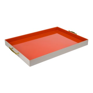 Pentreath & Hall Collection Large Tray in Warm Grey / Orange For Sale
