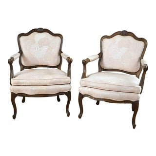 French Provincial Louis XV Style Fauteuil, Bergere Chairs- a Pair For Sale