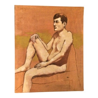 Abstract Expressionist Oil or Acrylic Painting of Male Nude For Sale