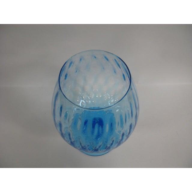 Empoli 1960s Empoli Aqua Blue Optic Glass Snifter Vase For Sale - Image 4 of 13