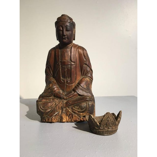 Wood Chinese Ming Dynasty Carved Wooden Bodhisattva For Sale - Image 7 of 10