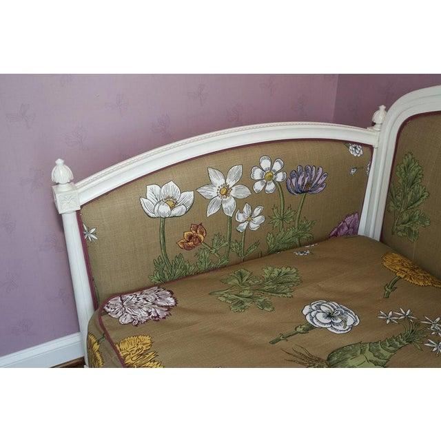 Modern Ornately Wood Carved Custom Botanical Print Upholstery Day Bed For Sale - Image 4 of 12