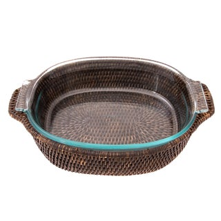 Artifacts Rattan Oval Pyrex Holder For Sale