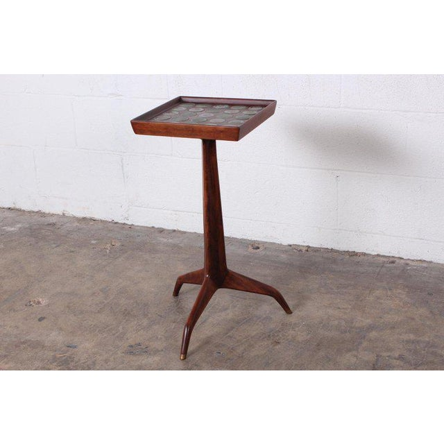 Mid-Century Modern Edward Wormley Dunbar Janus Side Table With Natzler Tiles For Sale - Image 3 of 13