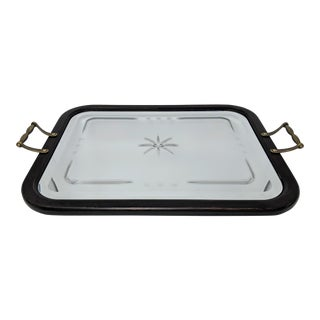 Wooden and Mirrored Cut Glass Decorative Tray For Sale