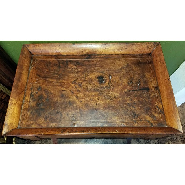 18c French Provincial Burl Walnut Lyre Work Table For Sale - Image 10 of 13
