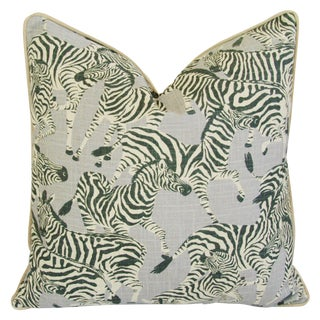 "Designer Safari Zebra Linen & Velvet Feather/Down Pillow 24"" Square For Sale"