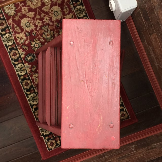 Metal Vintage Painted Wood Step Ladder - Step Stool For Sale - Image 7 of 11