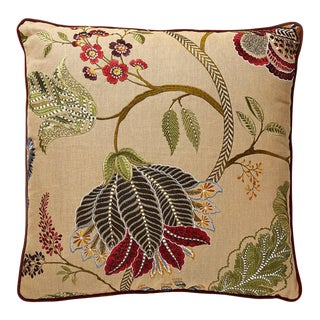 Palampore Embroidery Pillow in Cinnamon For Sale