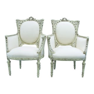 20th Century Art Nouveau Bergere Chairs - a Pair For Sale