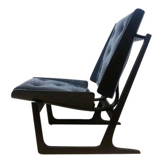 1950s Bentwood and Leather Danish Sleigh Lounge Chair For Sale