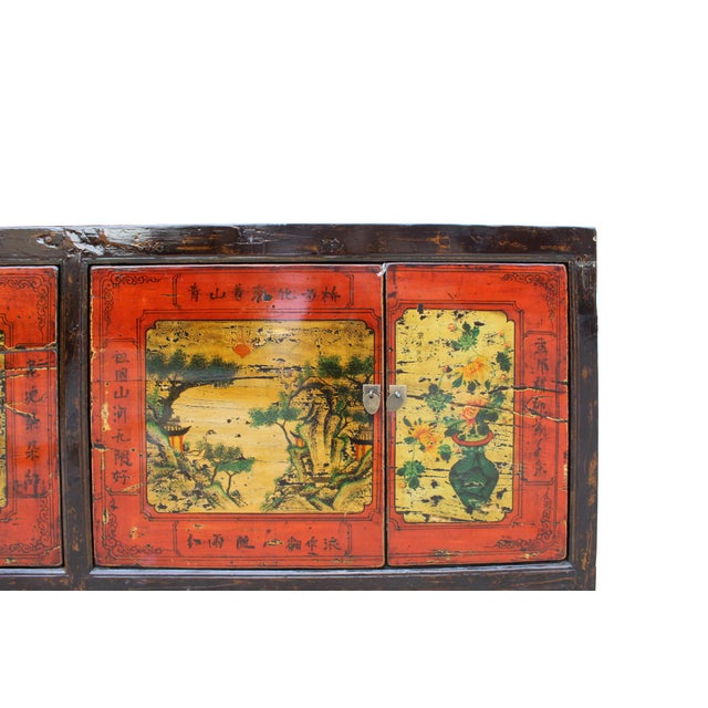 Chinese Distressed Brown Red Doors Long Sideboard Console Table Cabinet For Sale - Image 5 of 9