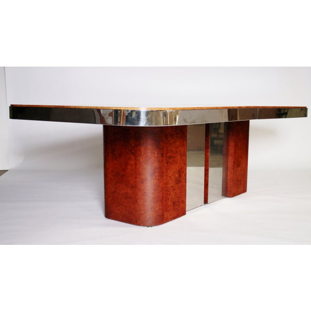 Burlwood Burl Wood and Steel Dining Table For Sale - Image 7 of 10