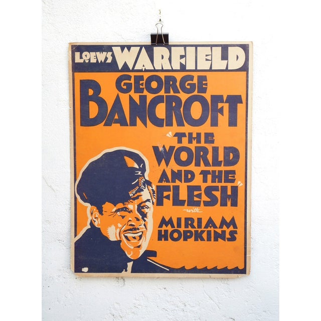 "This is a magnificent 1932 movie poster of ""World and Flesh"". It is on a very thick paper. There is some surface damage as..."