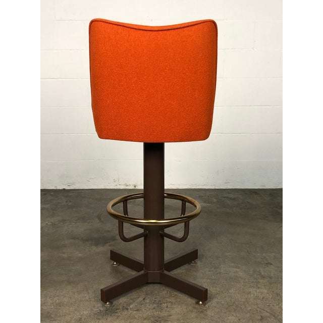 Orange Tweed Mid-Century Modern Bar Stool With Brass Foot Ring ~ Set of 6 For Sale - Image 9 of 11