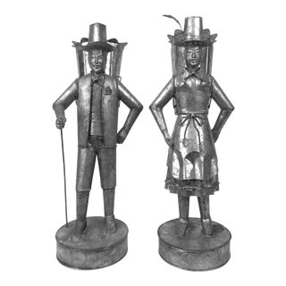 Vintage Tin Tole Figurines - a Pair For Sale