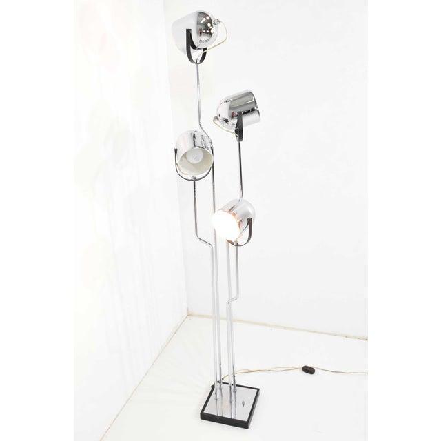 Metal Reggiani 4 Head Chrome and Black Floor Lamp For Sale - Image 7 of 11