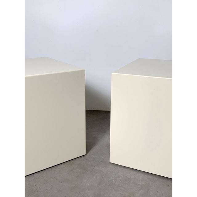 Contemporary 1970s Modern Lacquered White Cube Side Tables- A Pair For Sale - Image 3 of 11