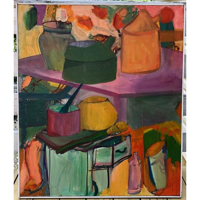 Colorful, large abstract still life work by L. Witherill, depicting an interior scene. Oil paint on stretched canvas...