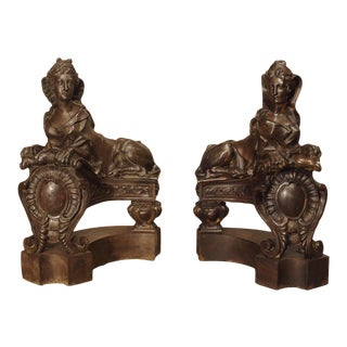 Pair of Late 19th Century French Sphinx Chenets in Cast Iron For Sale
