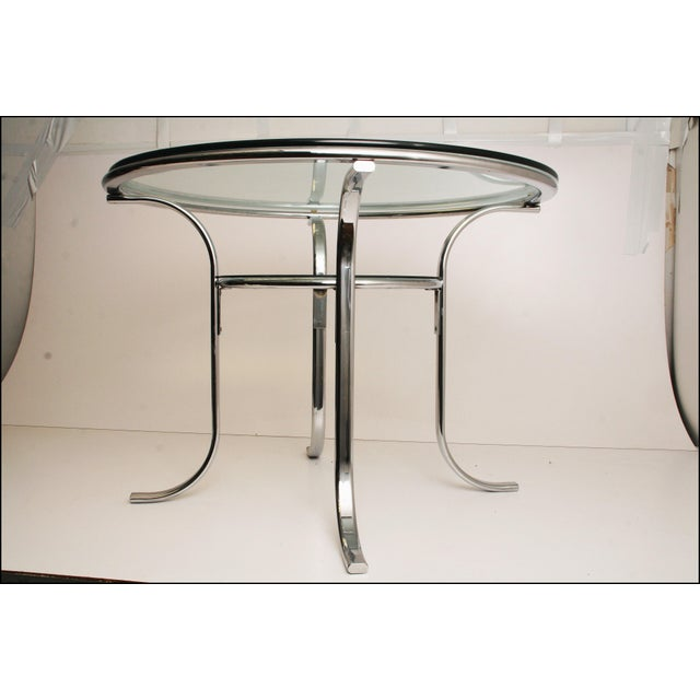 Mid-Century Modern Chrome & Glass Dining Table - Image 9 of 11