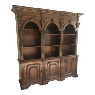 Antique Style Triple Arch Library Bookcase Display Cabinet For Sale