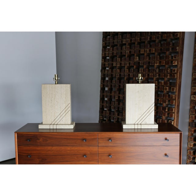 White Modernist Travertine Lamps Circa 1980 - a Pair For Sale - Image 8 of 13
