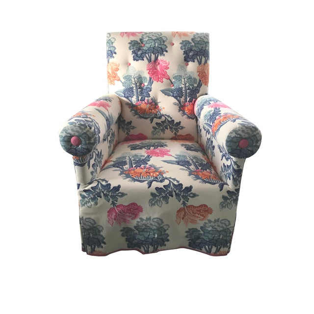Jon Stefanidis Floral Fabric Skirted Armchair For Sale In New York - Image 6 of 6