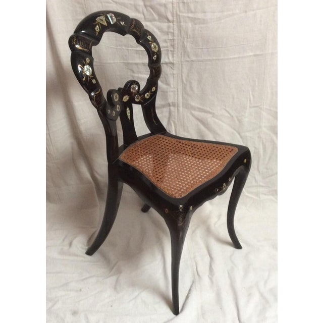 Italian Lacquered Chair With Mother of Pearl For Sale In San Antonio - Image 6 of 11