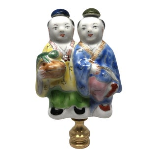 Chinese Children Chinoiserie Porcelain Lamp Finial