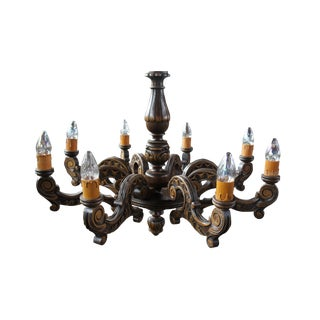 Early 20th Century Antique Rustic Carved Pine French Chandelier 8 Light French For Sale