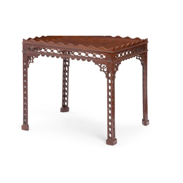 Antique 18th C George III Mahogany Fret Carved Silver Table