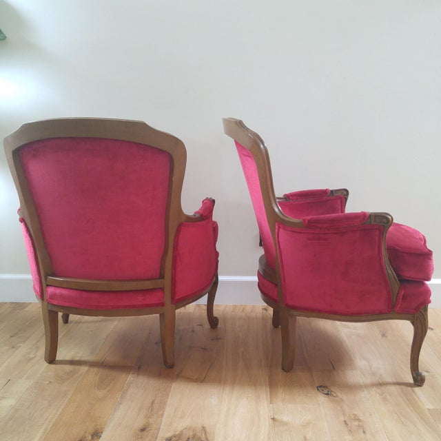 W. & J. Sloane W & J Sloane French Provincial Raspberry Red Velvet Chairs - A Pair For Sale - Image 4 of 10