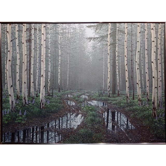 Jack Braman -Inside a Misty Forest of Aspens -Realism-Oil painting oil painting on Masonite - Signed and dated frame size...