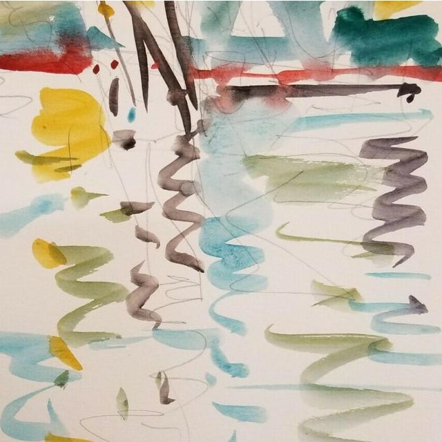 Contemporary Jose Trujillo Original Watercolor Painting Fauvism Reflections Design For Sale - Image 3 of 4