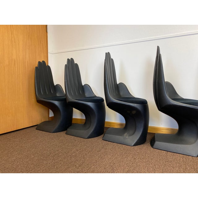 1990s Vintage European Touch Black Hand Chairs - Set of 6 For Sale In Detroit - Image 6 of 12