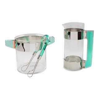 Italian Rede Guzzini Silver Plate Lucite Martini Pitcher Ice Bucket Barware Set For Sale