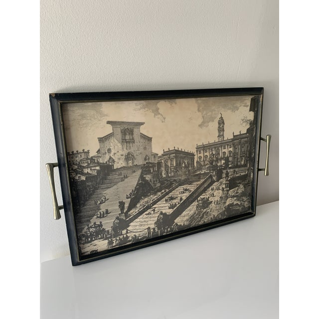 Tray featuring black and white rendition of Santa Maria in Aracoeli and the original Italian Senate building in Rome, now...