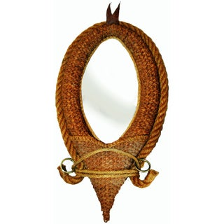 French Audoux & Minet Modernist Rope Mirror, 1960s For Sale