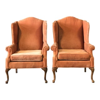 Vintage Velvet Wingback Chairs For Sale