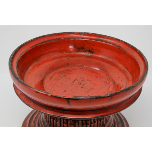 Asian Thai Red Carved Wood Temple Offering Box Basket For Sale - Image 3 of 10