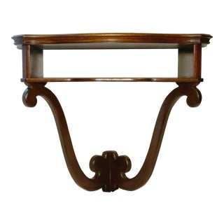 Mahogany Vintage Hanging Wall Mount Scalloped Bracket Console For Sale