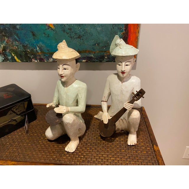 Thailand Wooden Musician Figurines - a Pair For Sale - Image 4 of 8