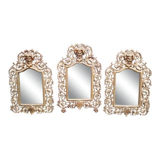 19th Century P. E. Guerin Gilt Brass Bacchus Mirrors-Set of 3 For Sale