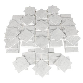 Italian Carrera Carrara Marble Tile White Gray Hollywood Regency For Sale