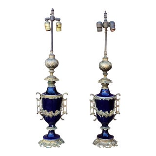 1920s Vintage Cobalt Blue Porcelain Sevres Style Neoclassical Table Lidded Urn Lamps- A Pair For Sale