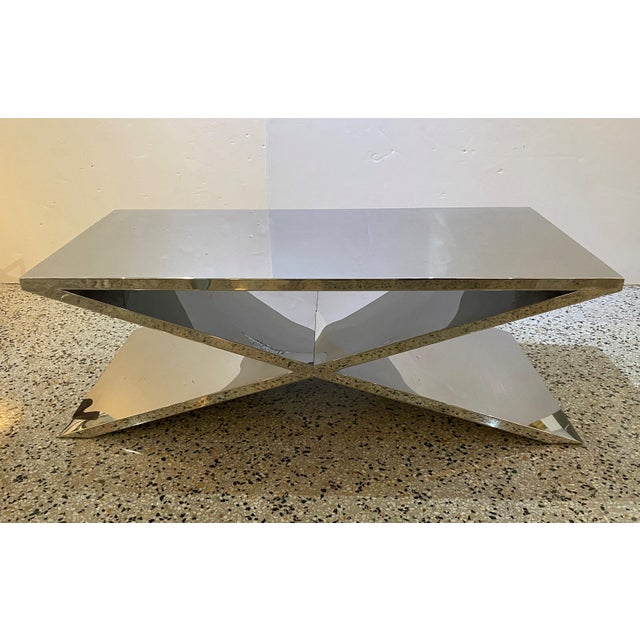 X Base Cocktail Table Polished Nickel Plated Italian Modern For Sale - Image 10 of 11