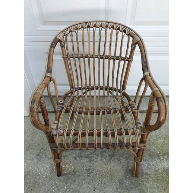 Franco Albini Style Bamboo Arm Chair For Sale - Image 4 of 12